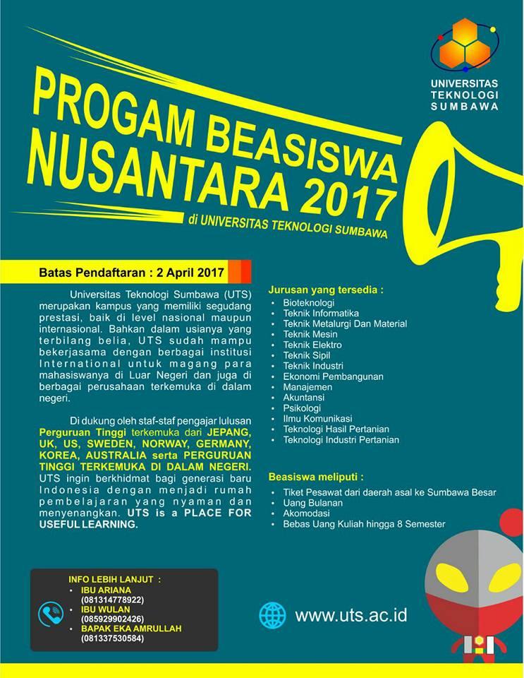 Beasiswa Nusantara 2017 di Universitas Teknologi Sumbawa (UTS)